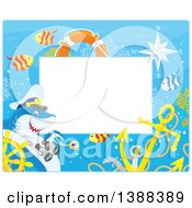 Clipart Of A Horizontal Border Of A Shark Captain And Fish With A Sunken Helm Royalty Free Vector Illustration
