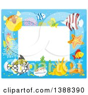 Clipart Of A Horizontal Border Frame Of Marine Fish And Sea Creatures Royalty Free Vector Illustration