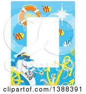 Clipart Of A Vertical Border Of A Shark Captain And Fish With A Sunken Helm Royalty Free Vector Illustration
