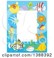 Clipart Of A Vertical Border Frame Of Marine Fish And Sea Creatures Royalty Free Vector Illustration