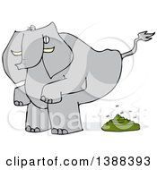 Clipart Of A Cartoon Elephant Squatting And Pooping Royalty Free Vector Illustration by djart