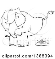 Clipart Of A Cartoon Black And White Lineart Elephant Squatting And Pooping Royalty Free Vector Illustration