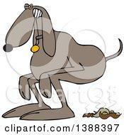 Cartoon Brown Dog Straining To Poop