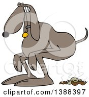 Clipart Of A Cartoon Brown Dog Straining To Poop Royalty Free Vector Illustration
