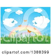 Clipart Of A Spring Time Background With A Rainbow Spring Flowers Grass And Butterflies Royalty Free Vector Illustration by Pushkin
