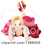 Clipart Of A Pretty Blond Caucasian Princess Laying On The Floor Royalty Free Vector Illustration