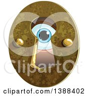 Clipart Of A Blue Eye Peeking Through A Key Hole Royalty Free Vector Illustration