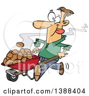 Clipart Of A Cartoon White Man Pushing Hot Spuds In A Wheelbarrow Royalty Free Vector Illustration