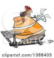 Clipart Of A Cartoon Fat White Man Wearing A Helmet And Goggles On A Scooter Royalty Free Vector Illustration