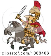 Clipart Of A Cartoon Spartan Soldier Alexander The Great Wielding A Sword On A Horse Royalty Free Vector Illustration by toonaday