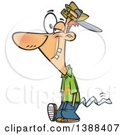 Clipart Of A Cartoon April Foolish Guy Walking With Toilet Paper Tucked In His Pants Royalty Free Vector Illustration