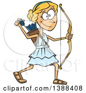 Clipart Of A Cartoon Artemis Shooting Arrows Royalty Free Vector Illustration by toonaday
