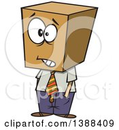 Clipart Of A Cartoon Business Man With A Block Head Royalty Free Vector Illustration