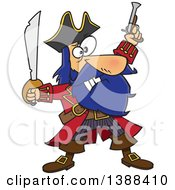 Clipart Of A Cartoon Pirate Captain Bluebeard Holding Up A Sword And Pistol Royalty Free Vector Illustration