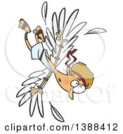 Clipart Of A Cartoon Scene Of Icarus Falling After The Wax On His Wings Melted Royalty Free Vector Illustration