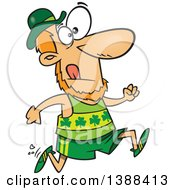 Clipart Of A Cartoon St Patricks Day Leprechaun Running A Marathon Royalty Free Vector Illustration