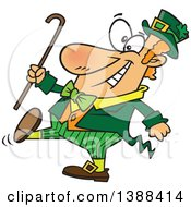 Clipart Of A Cartoon St Patricks Day Leprechaun Holding A Cane And Strutting Royalty Free Vector Illustration