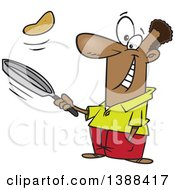 Clipart Of A Cartoon Black Man Flipping Pancakes Royalty Free Vector Illustration by toonaday