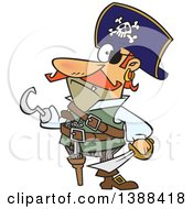 Clipart Of A Cartoon Pirate Captain With A Peg Leg And Hook Hand Royalty Free Vector Illustration by toonaday