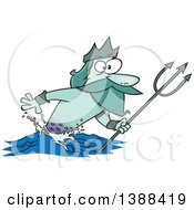 Cartoon Merman Poseidon Holding A Trident