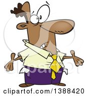 Clipart Of A Cartoon Black Business Man With Turned Out Pockets After Being Taxed Royalty Free Vector Illustration by Ron Leishman