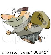 Cartoon White Male Robber Carrying A Bag Of Taxes