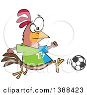 Clipart Of A Cartoon Chicken Playing Soccer Royalty Free Vector Illustration by toonaday