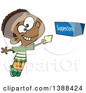 Clipart Of A Cartoon Black Boy Putting A Note In A Suggestion Box Royalty Free Vector Illustration