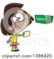 Clipart Of A Cartoon Girl Putting A Note In A Suggestion Box Royalty Free Vector Illustration