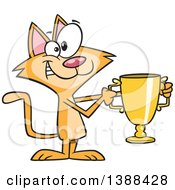Clipart Of A Cartoon Ginger Cat Champion Holding A Gold Trophy Royalty Free Vector Illustration