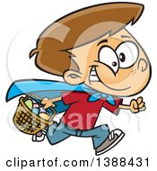 Clipart Of A Cartoon Brunette White Boy Wearing A Cape And Running At An Easter Egg Hunt Royalty Free Vector Illustration by toonaday