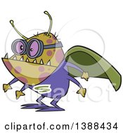 Clipart Of A Cartoon Super Illness Bug Wearing A Cape Royalty Free Vector Illustration by toonaday