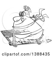 Clipart Of A Cartoon Black And White Lineart Fat Man Wearing A Helmet And Goggles On A Scooter Royalty Free Vector Illustration