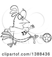 Clipart Of A Cartoon Black And White Lineart Chicken Playing Soccer Royalty Free Vector Illustration by toonaday