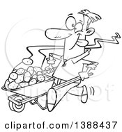 Cartoon Black And White Lineart Man Pushing Hot Spuds In A Wheelbarrow