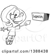 Clipart Of A Cartoon Black And White Lineart African Boy Putting A Note In A Suggestion Box Royalty Free Vector Illustration