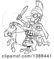 Clipart Of A Cartoon Black And White Lineart Spartan Soldier Alexander The Great Wielding A Sword On A Horse Royalty Free Vector Illustration