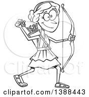 Clipart Of A Cartoon Black And White Lineart Artemis Shooting Arrows Royalty Free Vector Illustration by toonaday