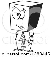 Clipart Of A Cartoon Black And White Lineart Business Man With A Block Head Royalty Free Vector Illustration
