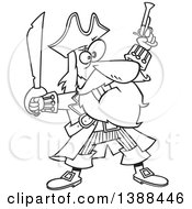 Clipart Of A Cartoon Black And White Lineart Pirate Captain Bluebeard Holding Up A Sword And Pistol Royalty Free Vector Illustration