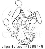 Clipart Of A Cartoon Black And White Lineart Easer Bunny Rabbit Juggling Easter Eggs Royalty Free Vector Illustration by toonaday