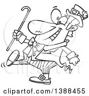 Clipart Of A Cartoon Black And White Lineart St Patricks Day Leprechaun Holding A Cane And Strutting Royalty Free Vector Illustration by Ron Leishman