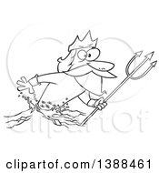 Cartoon Black And White Lineart Merman Poseidon Holding A Trident