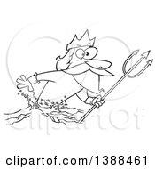 Poster, Art Print Of Cartoon Black And White Lineart Merman Poseidon Holding A Trident