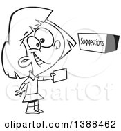 Clipart Of A Cartoon Black And White Lineart Girl Putting A Note In A Suggestion Box Royalty Free Vector Illustration