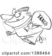 Clipart Of A Cartoon Black And White Lineart Male Robber Carrying A Bag Of Taxes Royalty Free Vector Illustration