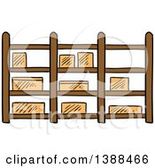 Clipart Of A Sketched Warehouse Shelf With Boxes Royalty Free Vector Illustration