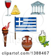 Clipart Of A Sketched Greek Flag Flaming Torch Ceramic Amphora Parthenon Temple Olive Oil Wine And Cheese Royalty Free Vector Illustration