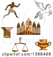 Clipart Of A Sketched Greek Runner Capital On A Column Pegasus And Amphora Scales And Temple Royalty Free Vector Illustration