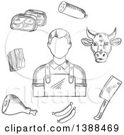 Clipart Of A Black And White Sketched Butcher Cow And Meats Royalty Free Vector Illustration by Vector Tradition SM